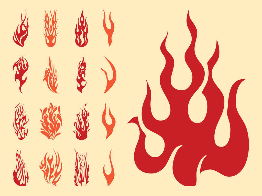 1024x765 Flame Silhouettes Set Free Vectors Ui Download