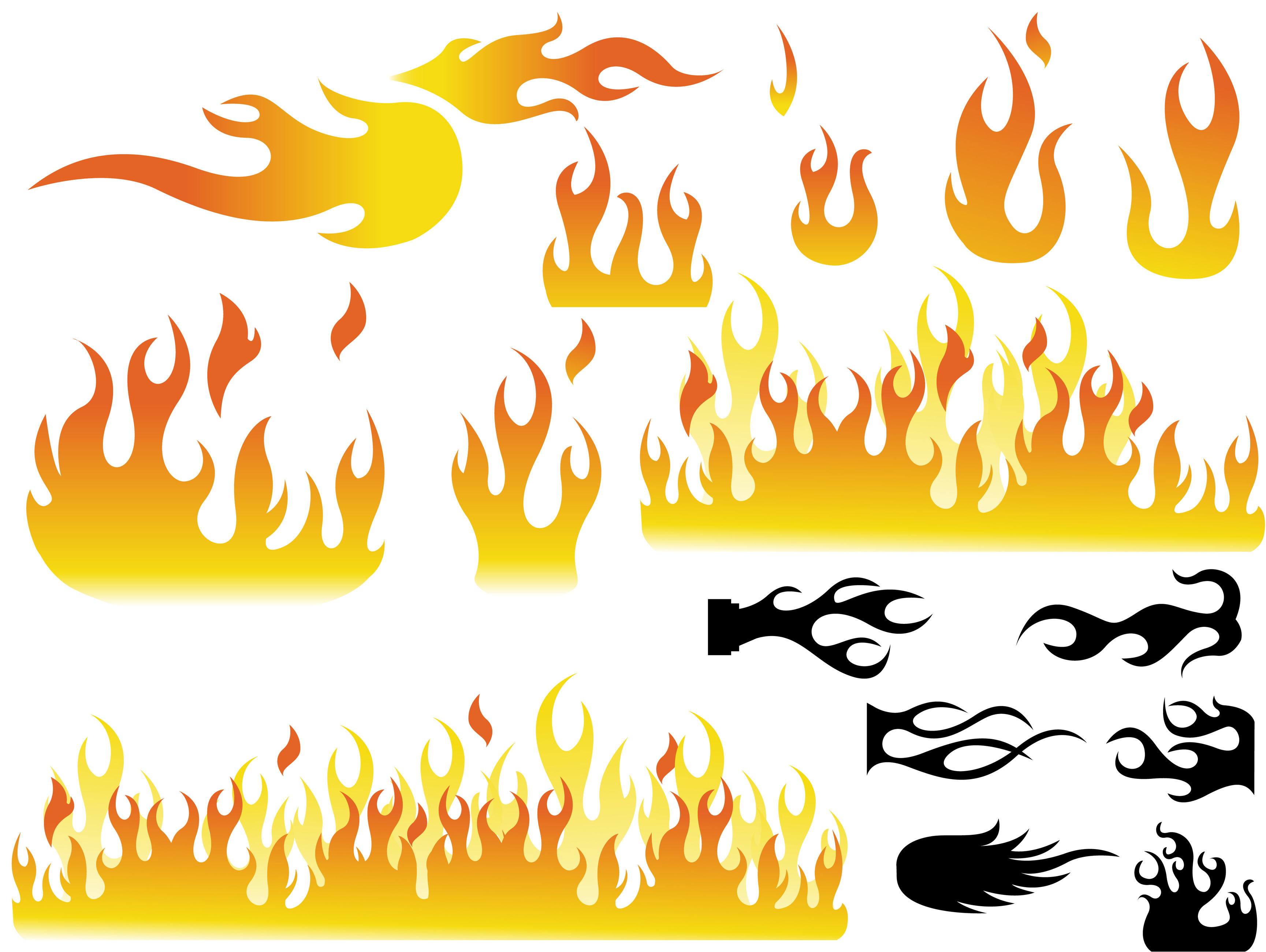 3458x2600 Collection Of Flames Clipart Vector High Quality, Free