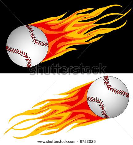 432x470 Flaming Baseball Clipart