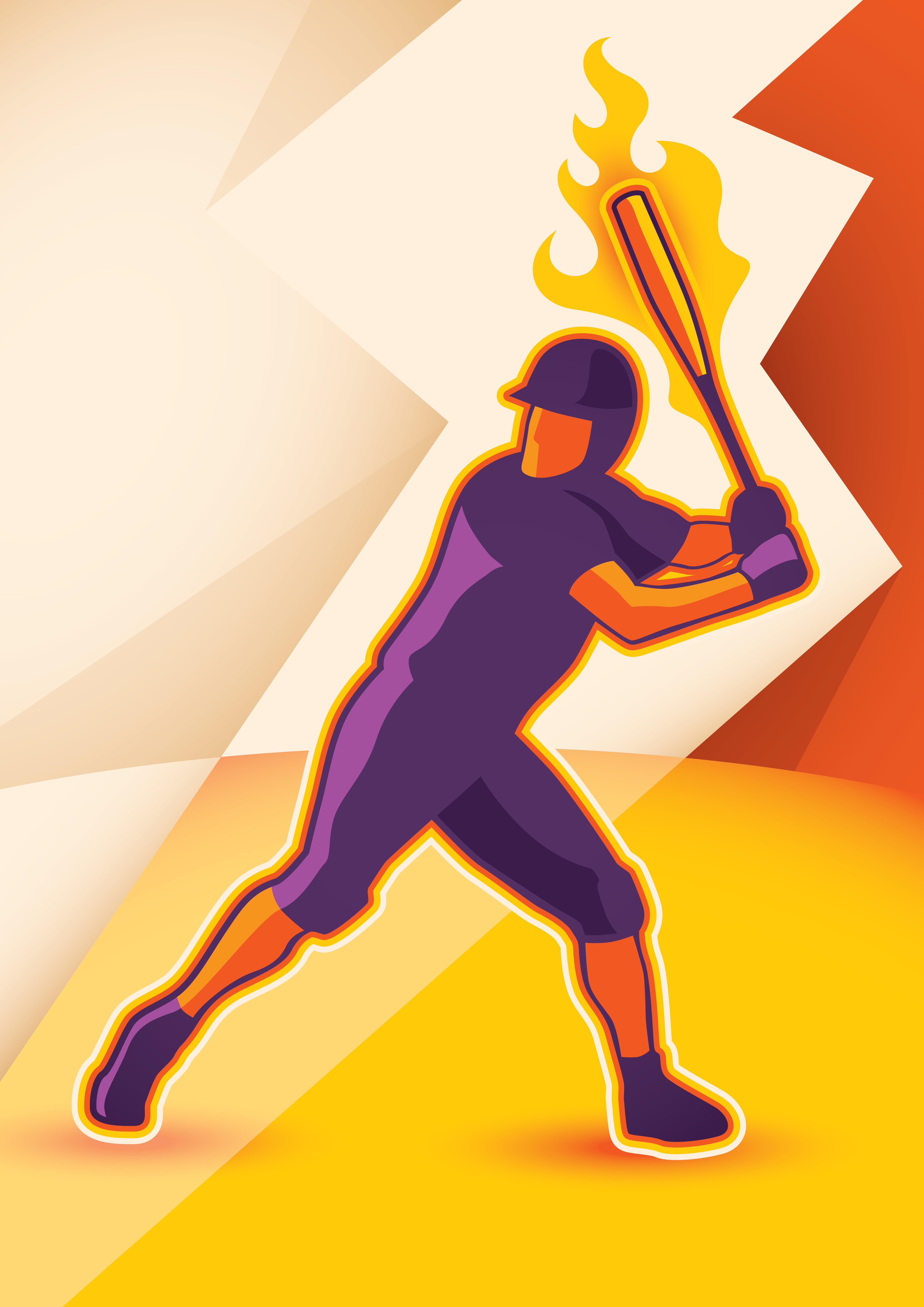 5833x8250 Flaming Baseball Free Vector Art