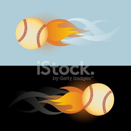 440x440 Flaming Baseball Stock Vector