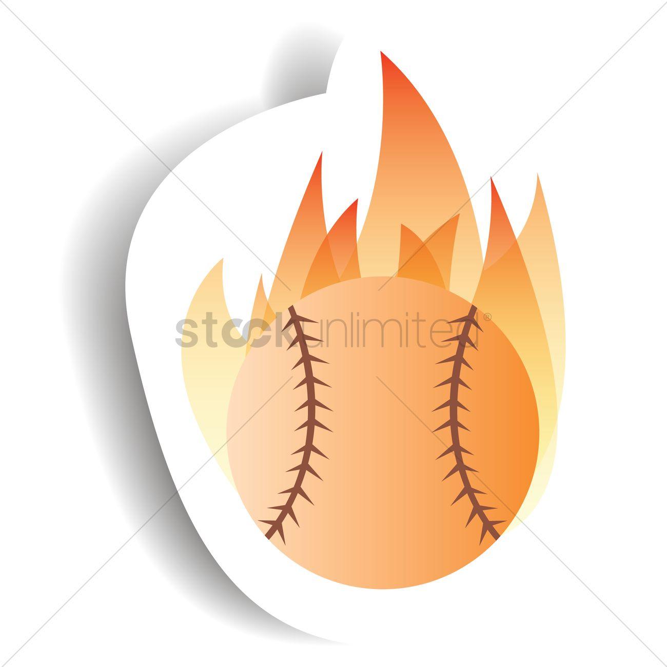 1300x1300 Flaming Baseball Vector Image
