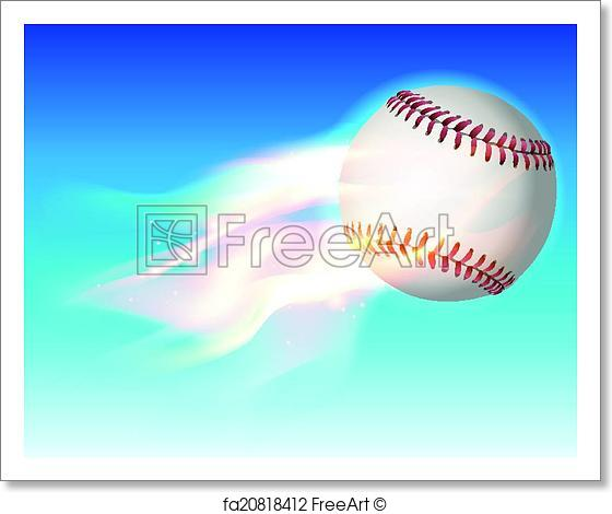 560x470 Free Art Print Of Flaming Baseball In The Sky Illustration. An