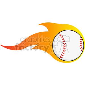 300x300 Royalty Free Flaming Baseball Ball 396084 Vector Clip Art Image