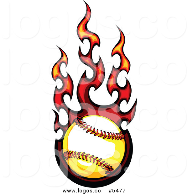 600x620 Royalty Free Vector Of A Logo Of A Flaming Baseball By Chromaco