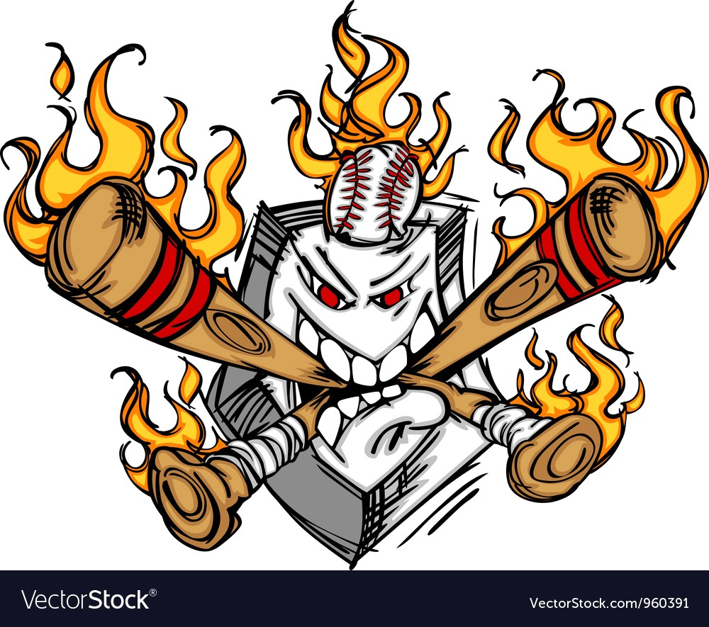 1000x885 Softball Baseball Plate And Bats Flaming Cartoon Vector 960391 12