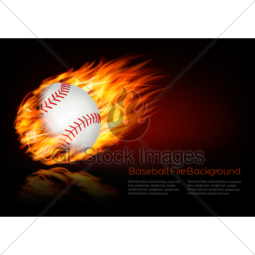 500x500 Baseball Background With A Flaming Ball. Vector. Gl Stock Images