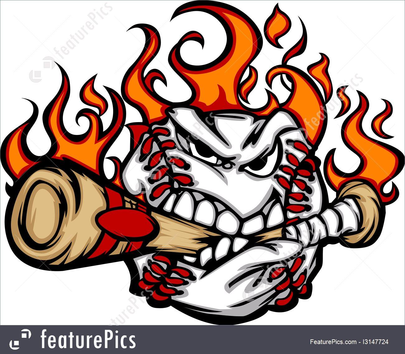 1300x1136 Baseball Flaming Face Biting Bat Vector Image I3147724
