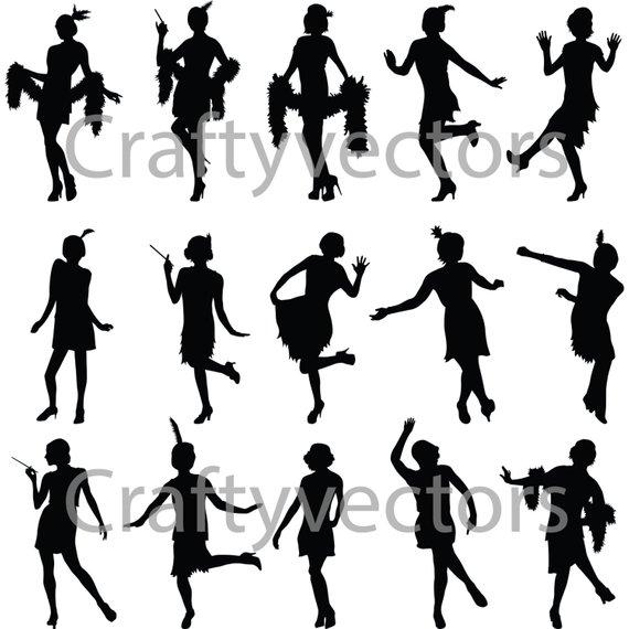 570x570 Flapper Girls Silhouette Vector File Etsy