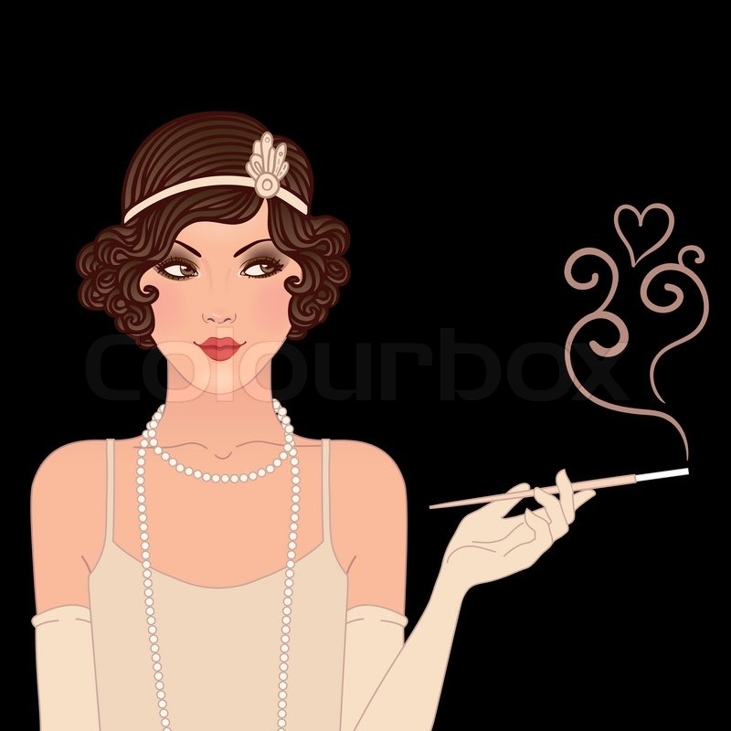 800x800 Flapper Girls Set Young Beautiful Woman Of 1920s. Vintage Style