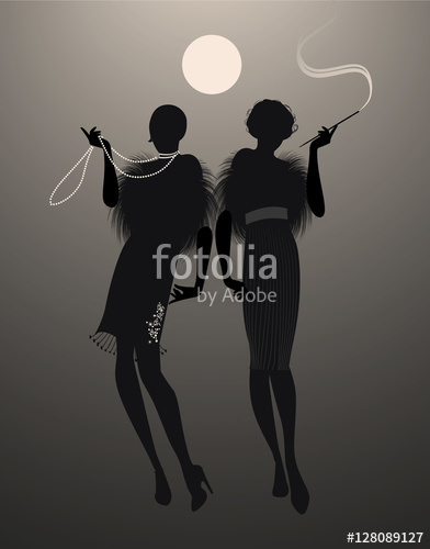392x500 Two Elegant Flapper Girl Silhouettes Under The Moon Stock Image