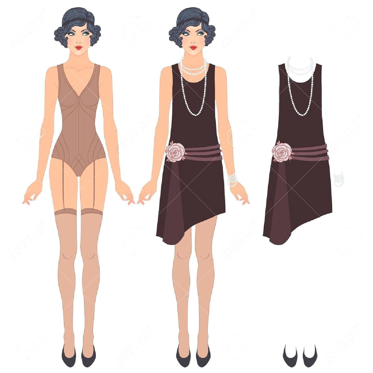 1300x1300 Template Paper Doll Clothing Template Flapper Girl Retro Party