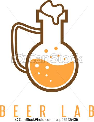 362x470 Beer Lab Concept With Flask Vector Design Template.