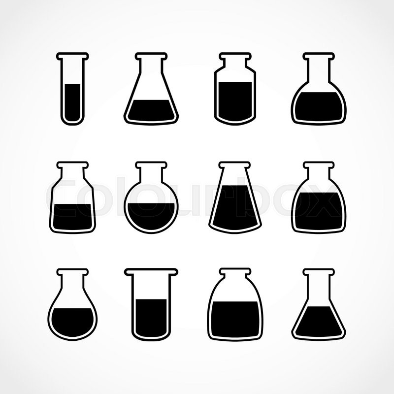 800x800 Vector Black Laboratory Flask Set.laboratory Glass.vector Icons