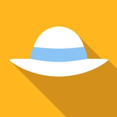 235x235 Flat Style With Long Shadows, Captain Cap Vector Icon Illustration