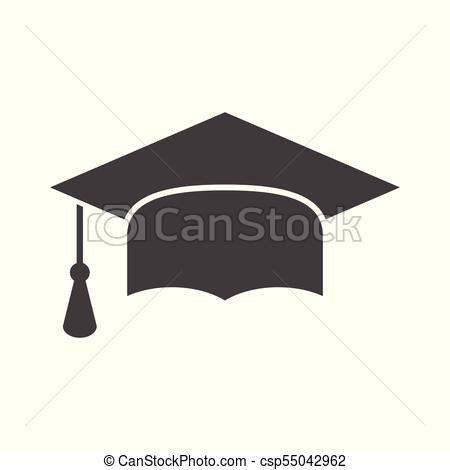 450x470 Graduation Cap Flat Design Icon. Finish Education Symbol