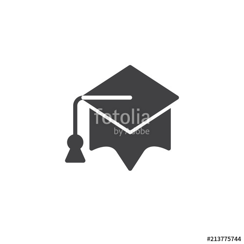 500x500 Graduation Cap Vector Icon. Filled Flat Sign For Mobile Concept