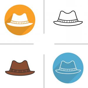 300x300 Mens Hat Flat Design Linear And Color Icons Set Vector Shopatcloth