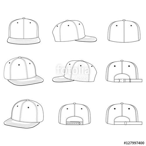 500x500 Snapback Cap Vector Illustration Flat Sketches Template Stock