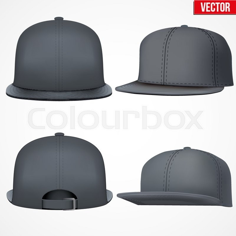 800x800 Set Of Layout Of Male Black Rap Cap. A Template Simple Example