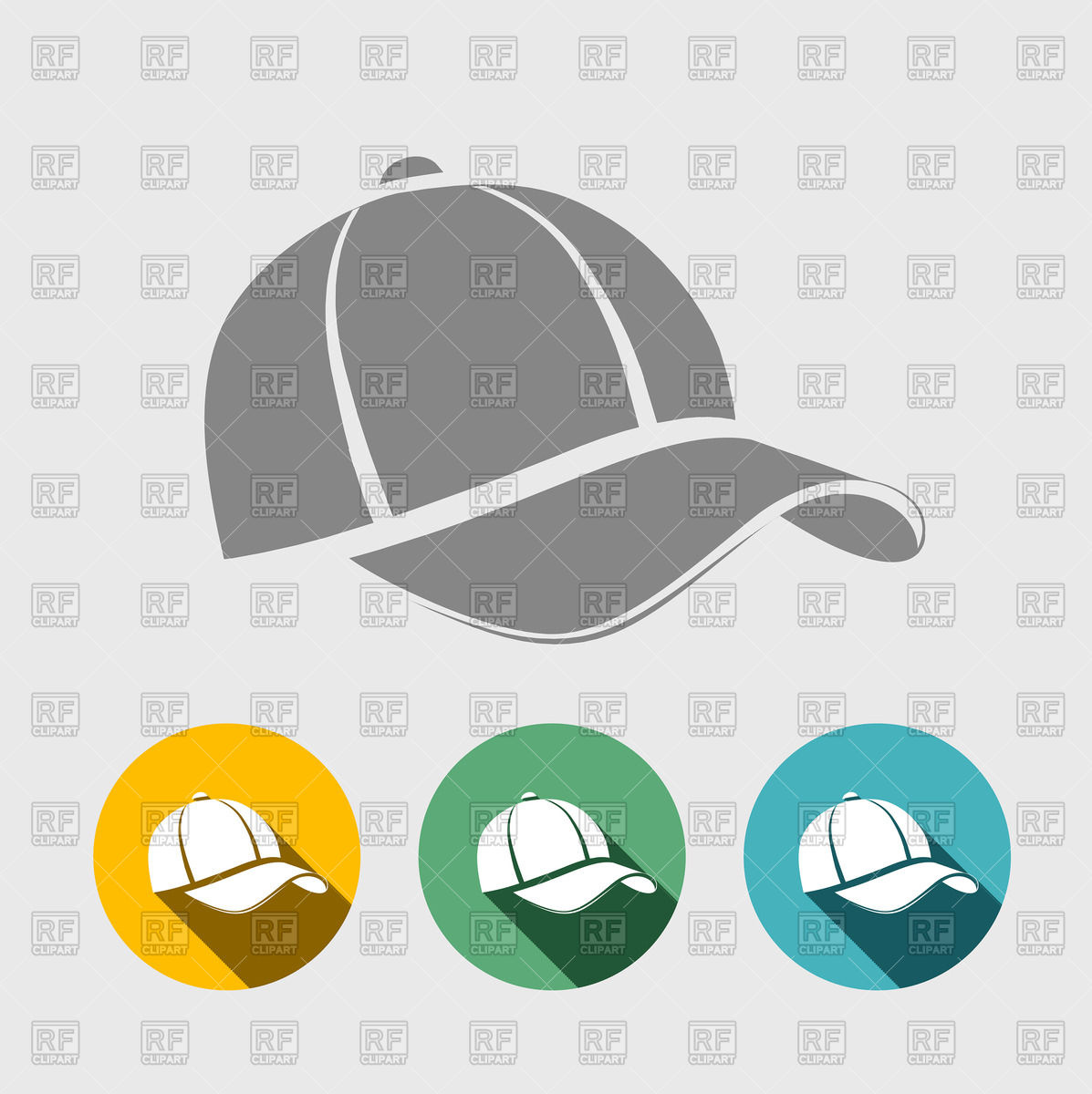 1197x1200 Baseball Cap Icon In Flat Style Vector Image Vector Artwork Of