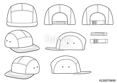500x354 Camp Cap Vector Illustration Flat Sketches Template Stock Image