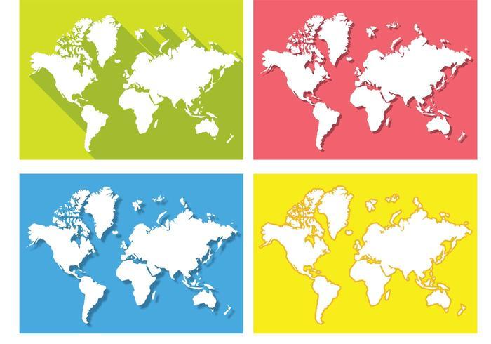 700x490 Flat World Map Vectors