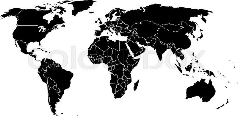 800x389 Blank Black Like A World Map On A White Background. Monochrome