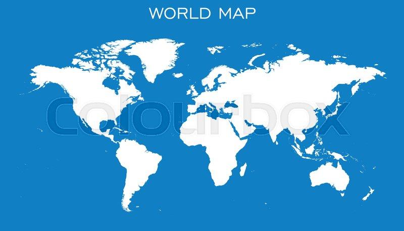 800x457 Blank White World Map Isolated On Blue Background. World Map