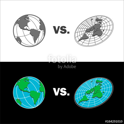 500x499 Flat Earth Vs Sphere Earth Map. Isolated Vector Illustration