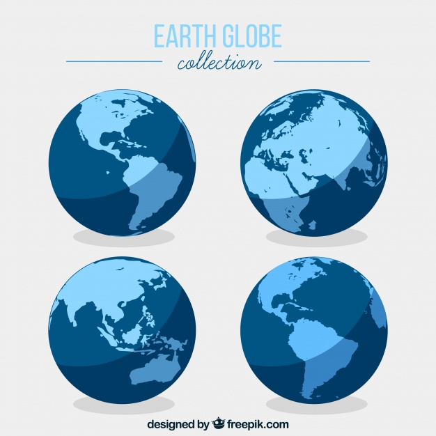 626x626 Flat Earth Globe Collection Vector Free Download