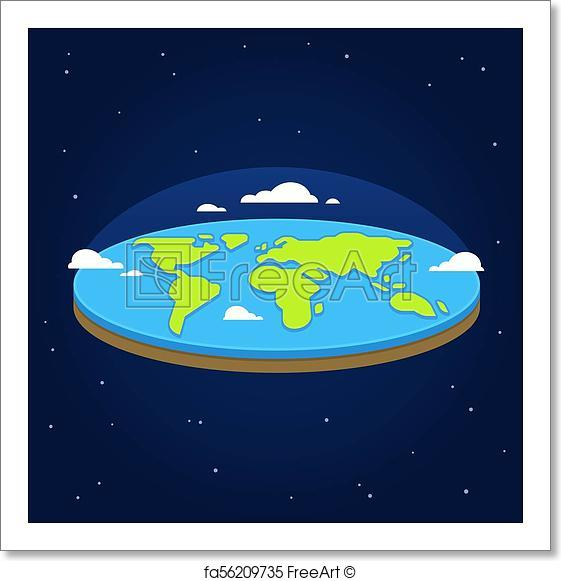 561x581 Free Art Print Of Flat Earth In Space. Flat Earth In Space