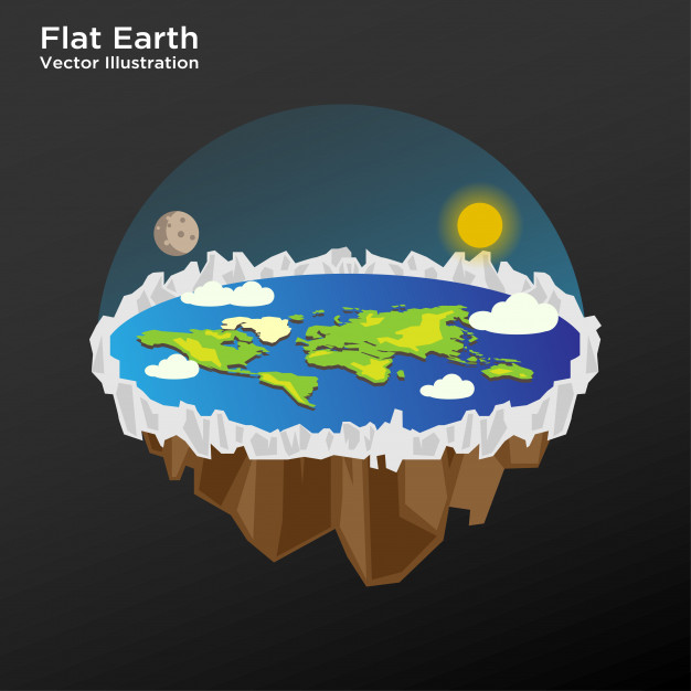 626x626 Illustration Of Flat Earth Theory Layout Vector Template Vector