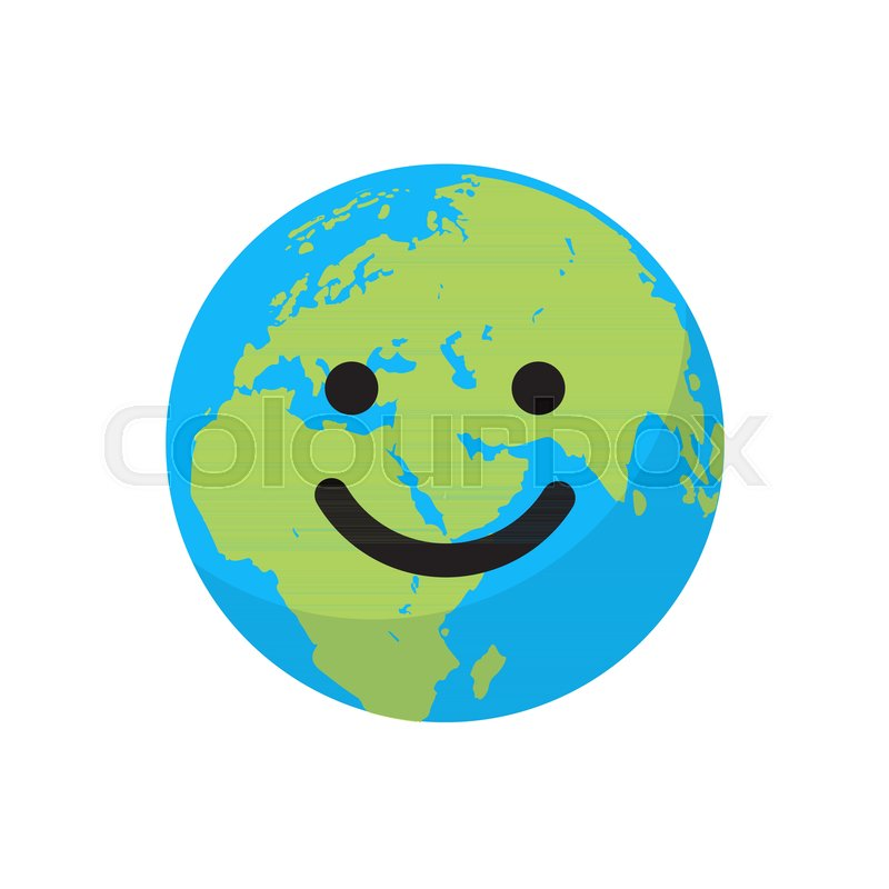 800x800 Smiling Cartoon Flat Globe. Save The Planet Concept. Happy Earth