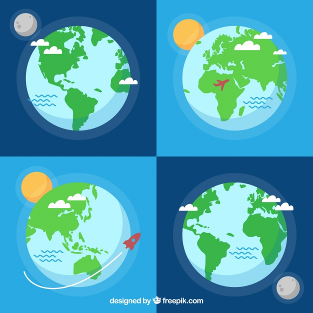 626x626 Assortment Of Flat Earth Globes With Decorative Elements Vector