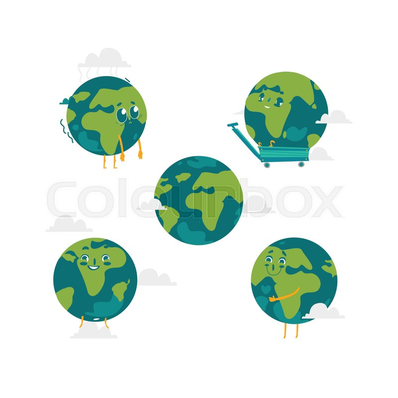 800x800 Vector Cartoon Flat Globe Humanized Character With Eyes, Arms And