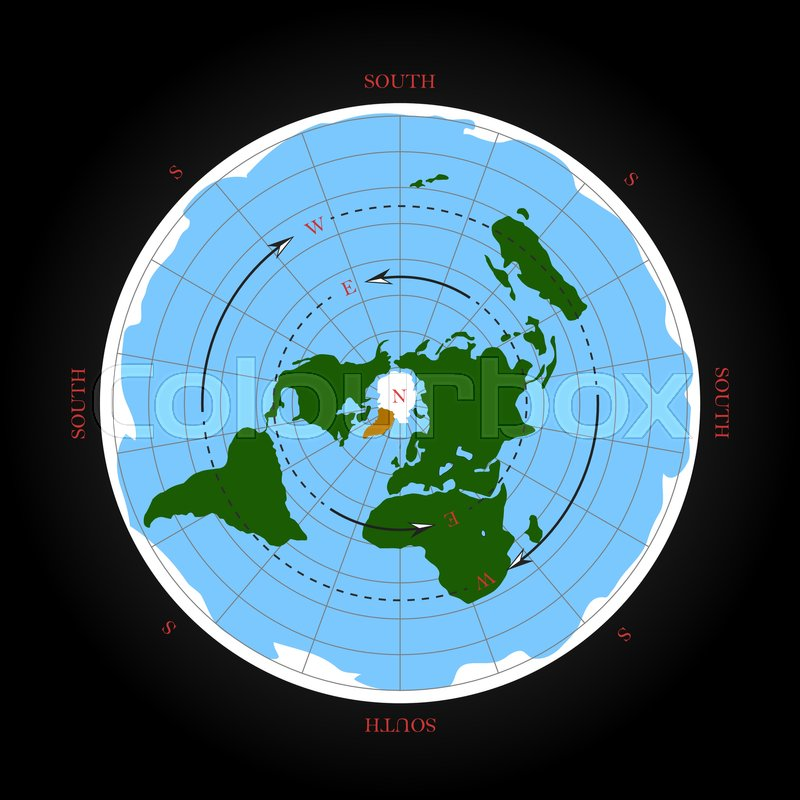 800x800 Cardinal Direction On Flat Earth Map. Isolated Vector Illustration
