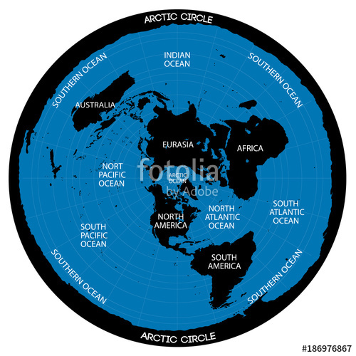 500x500 Conceptual Vector Scheme. Map Of The Flat Earth Theory Stock