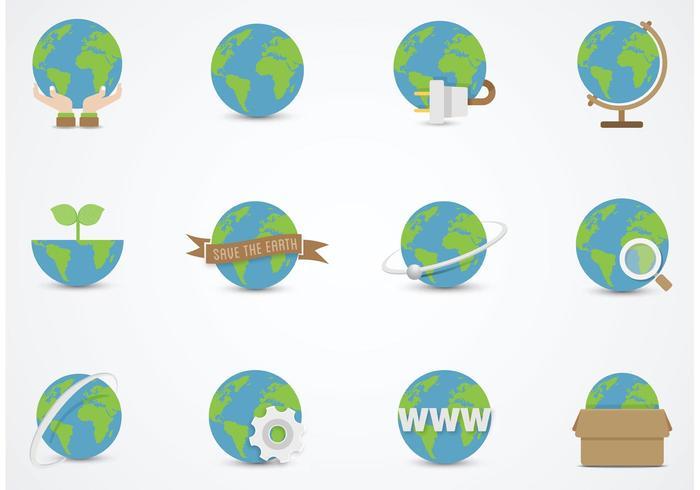700x490 Earth Globe Vector Flat Icons