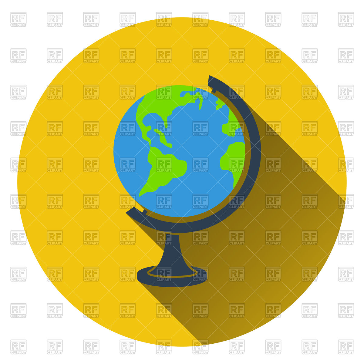 1200x1200 Flat Design Icon Of Globe In Ui Colors. Vector Image Vector