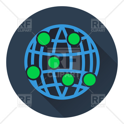 400x400 Flat Design Of Globe Connection Point Icon Vector Image Vector