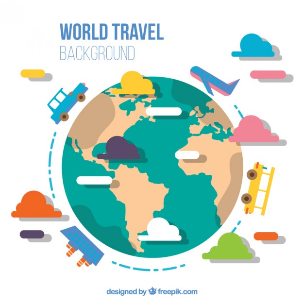 626x626 Flat World With Transport Background Vector Premium Download