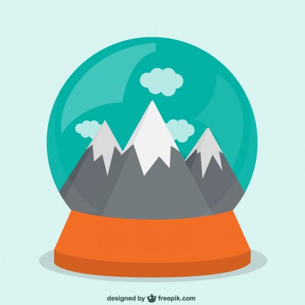 626x626 Mountais Inside A Snow Globe Vector Free Download