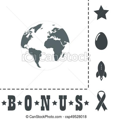 450x470 Pictograph Of Globe. Simple Flat Symbol Icon On White Background