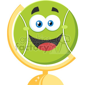 300x300 Royalty Free Happy Tennis Ball Cartoon Character On Desk Globe
