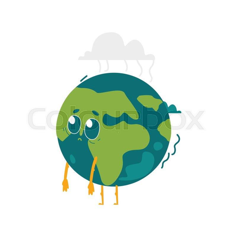 800x800 Vector Cartoon Flat Globe Sad, Upset Humanized Character With Eyes