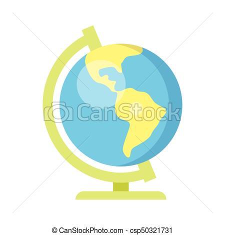 450x470 Vector Flat Style Illustration Of School Globe. Isolated On White