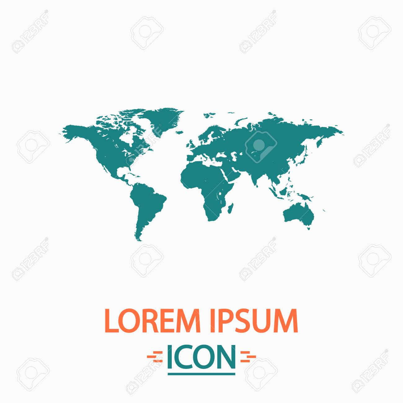 1300x1300 World Map Flat Icon On White Background Simple Vector Illustration