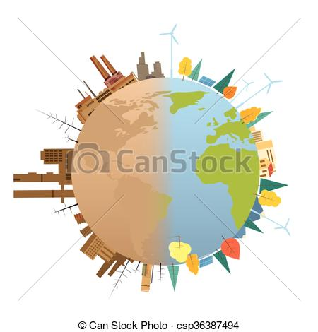 450x470 Clean And Polluted Earth Planet Globe. Clean And Dirty Polluted