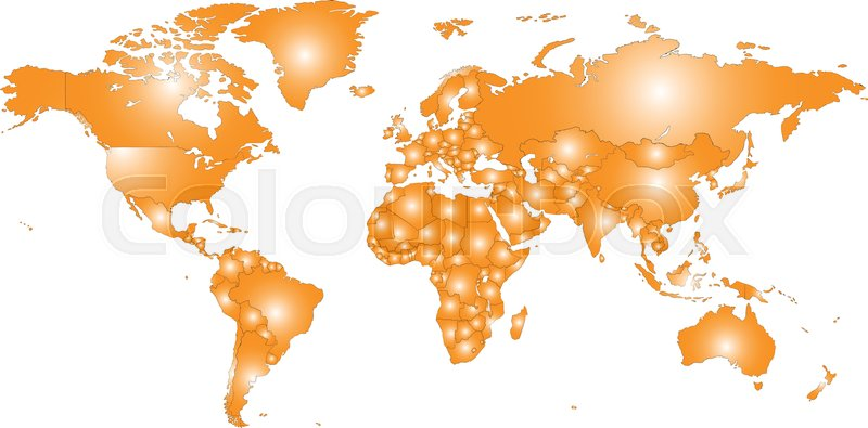 800x395 Colored Vector World Map Illustration Isolated Over White